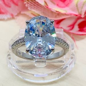 6 Ct CZ Big Oval Silver Ring